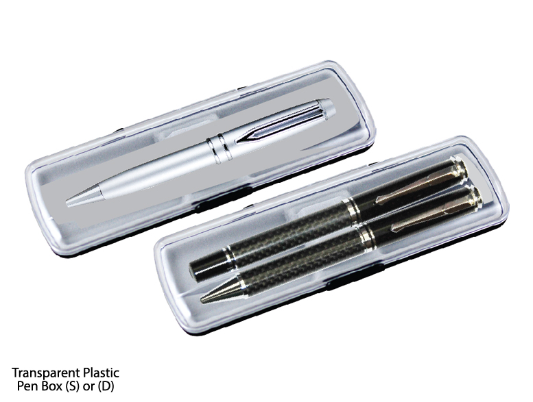 Transparent Plastic Pen Box - (S) or (D)
