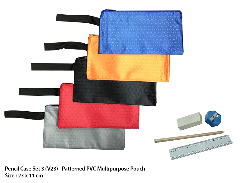 Pencil Case Set 3 (V23)  - Patterned PVC Multipurpose Pouch