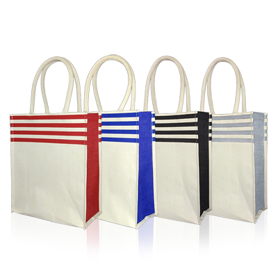 JC212 - Stripe Jute / Cotton Small Bag
